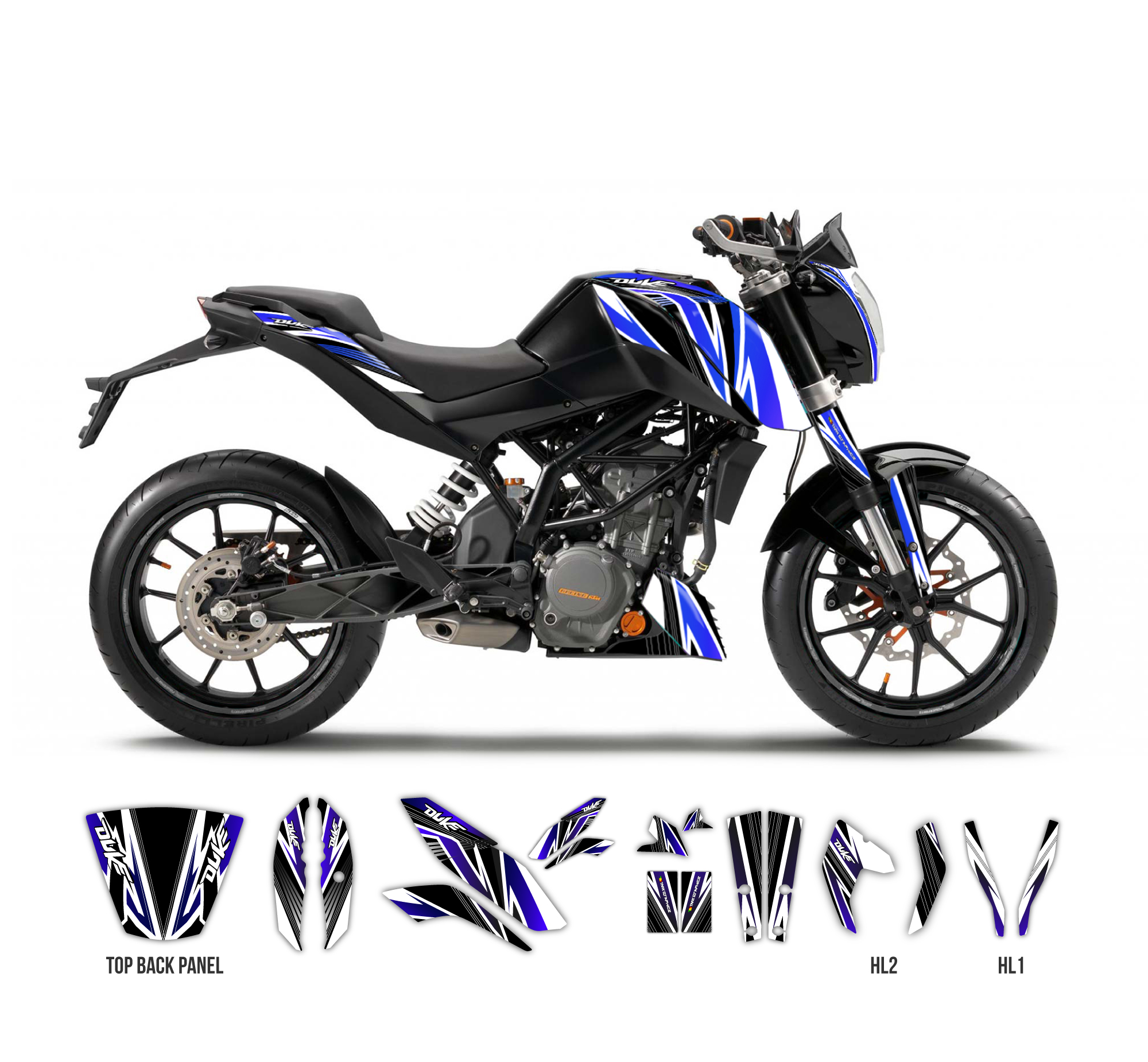 ktm duke 125 390 the one graphics series black tmx graphics. Black Bedroom Furniture Sets. Home Design Ideas