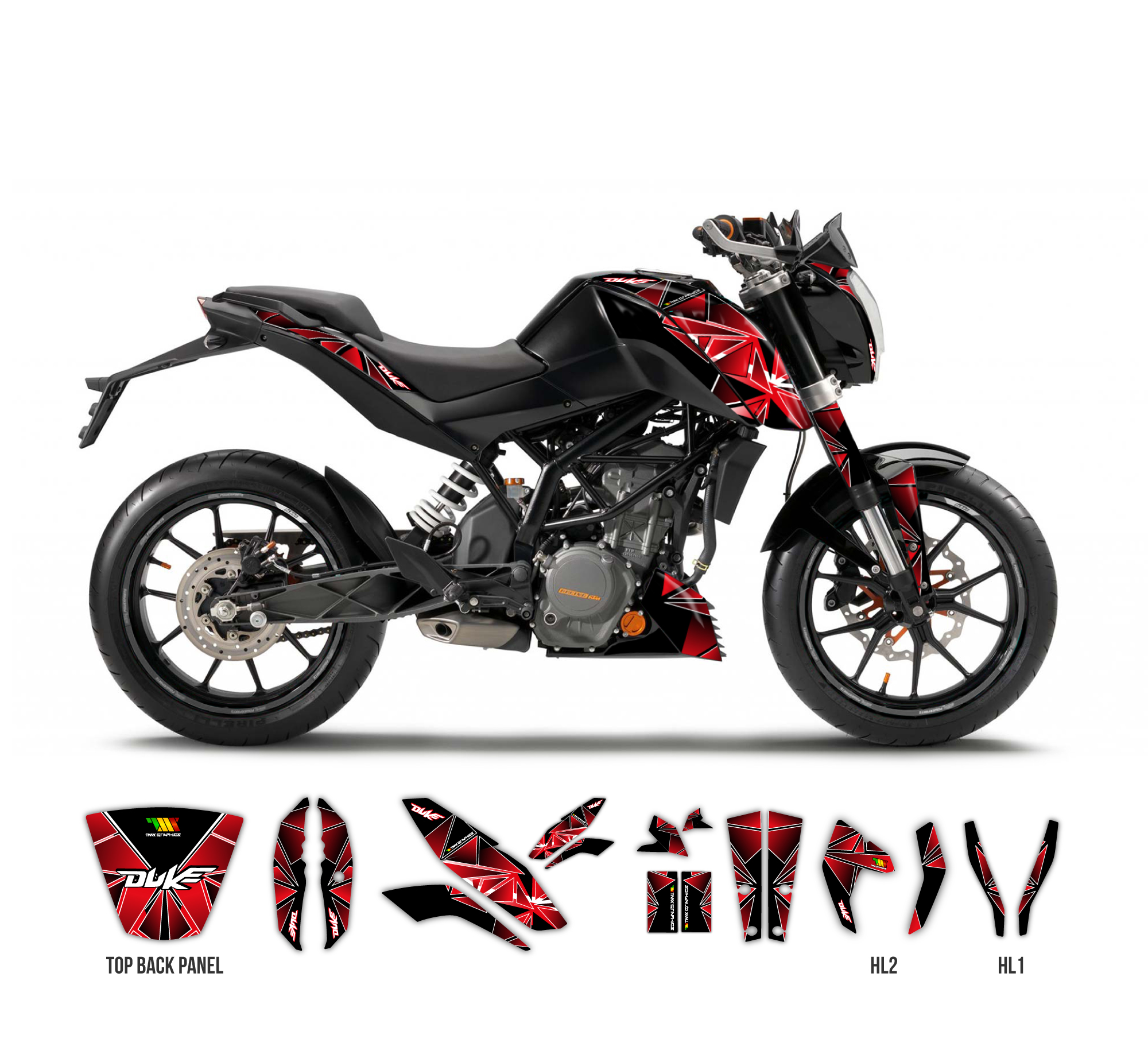Ktm duke 125 390 diamond graphics series black tmx graphics