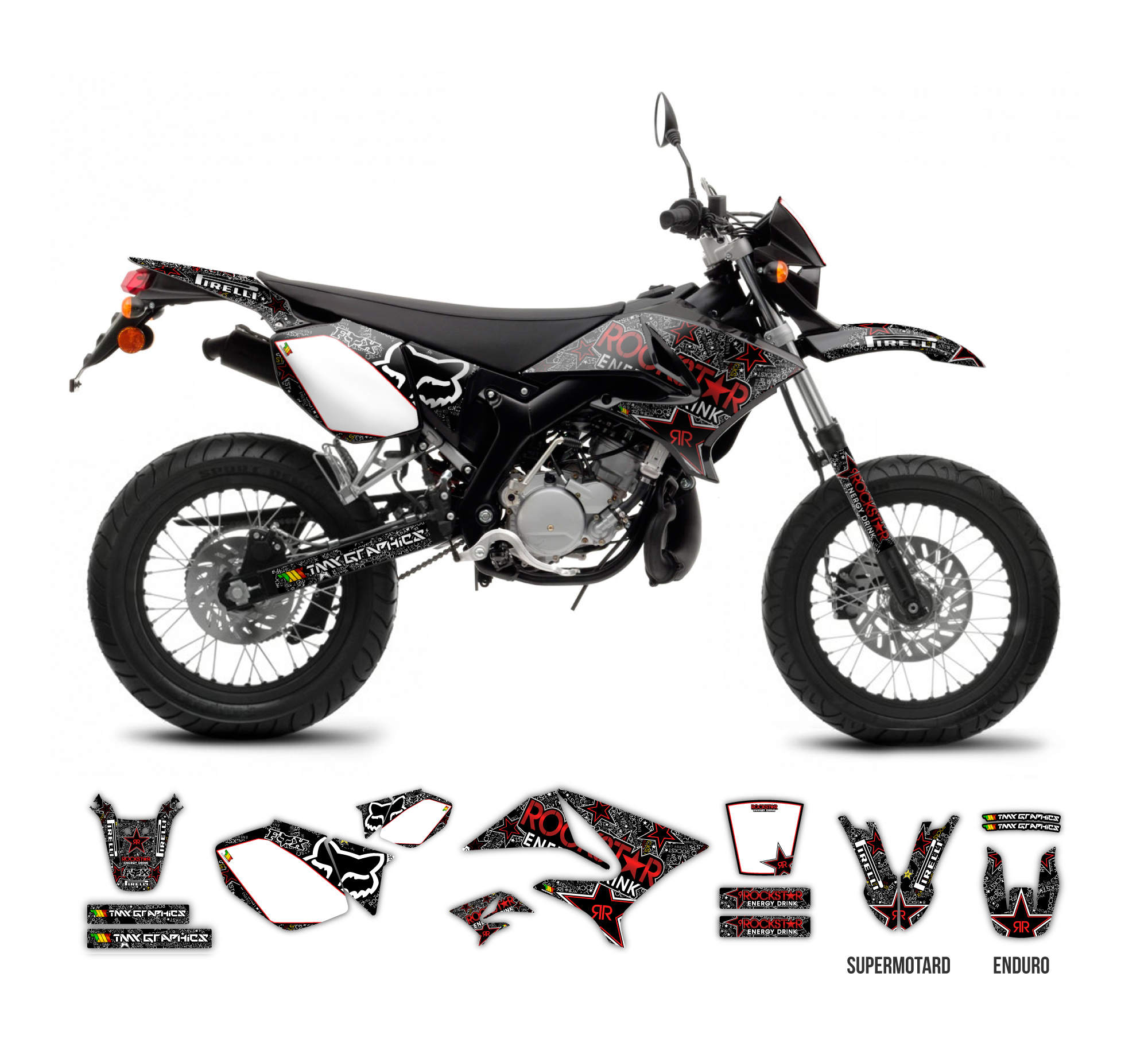 YAMAHA DT 50 X R Rockstar Fox Graphics Series Black TMX
