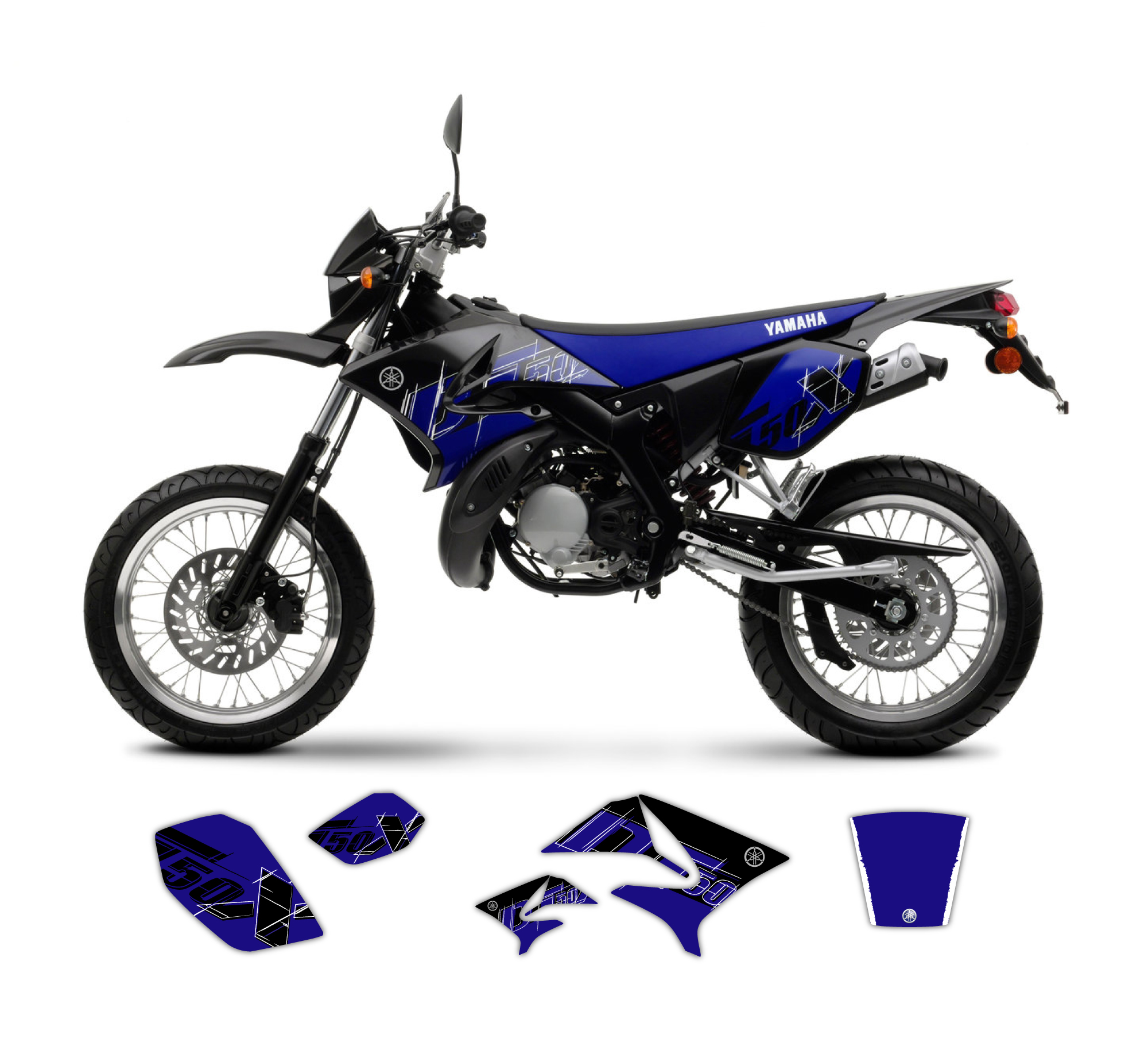 yamaha dt 50 x r replica graphics kit 2008 model tmx. Black Bedroom Furniture Sets. Home Design Ideas
